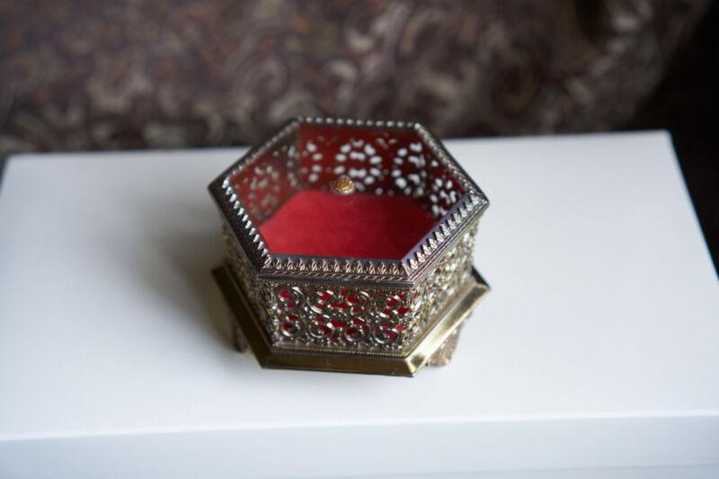 VTG beveled ormolu glass hexagon jewelry box vanity signed Japan filigree metal