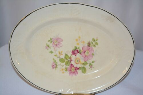Paden City Pottery USA, Oval Serving Plate Platter Pink White Floral