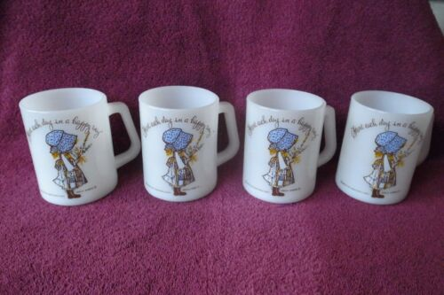 4 HTF BLUE Federal Glass Holly Hobbie Coffee Mugs Glossy Shiny Condition!