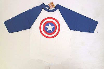 Marvel Comics Captain America Shield 3/4th Sleeve Baseball T-Shirt Top MEDIUM