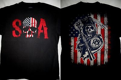 Sons Of Anarchy Soa Tv Show Skull Reaper American Flag T Shirt