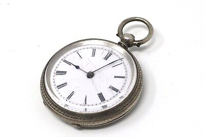 Ladies Antique Victorian Solid Silver Key Wind Pocket Watch Spares #27389