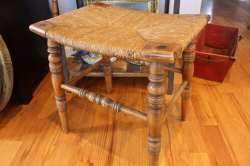 Excellent Antique Rush Seat Stool Hand Tooled Wood Legs
