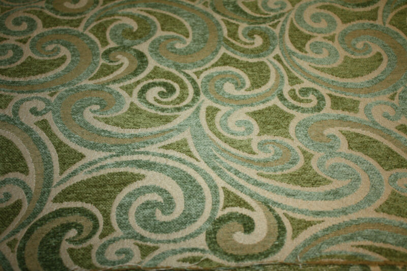 "Green Turqoise Beige Flocked Upholstery Fabric 6 Yards x 57"" Wide"