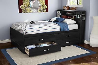 Full Bookcase Platform (Black Bookcase Storage Full 4-Drawer Platform Bed Furniture Home Living Bedroom )