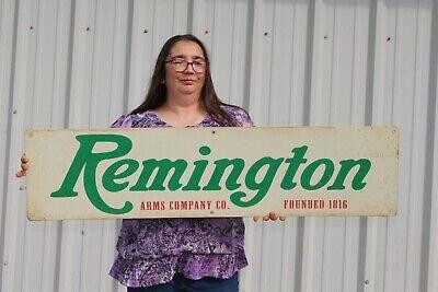 "Large Vintage Remington Arms Co. Gun Store Hunting Gas Oil 44"" Metal Sign"