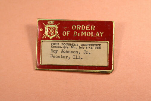 Demolay Name Tag 1936 First Founders Conference Kansas City