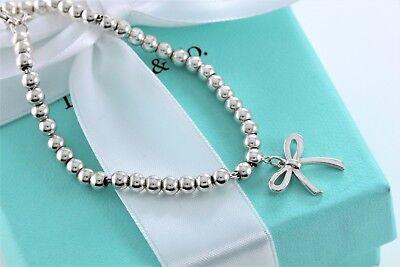 "Tiffany & Co. Sterling Silver Ribbon Bow Mini Ball Bead 6.75"" Bracelet w/ Pouch"