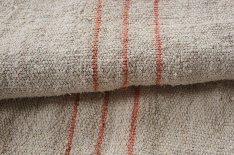 Antique grain sack fabric faded peach European NUBBY linen 3.8y CUTTER patched