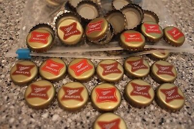 100 MILLER HIGH LIFE BEER BOTTLE CAPS CROWNS NO DENTS! SEE STORE 4 MORE!