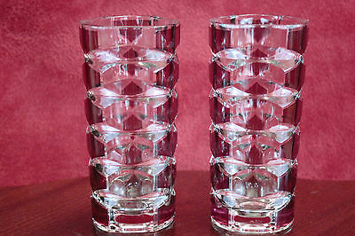 J G Durand of France Windsor 'Rubis' Cranberry and Clear Glass Vases - 17cm