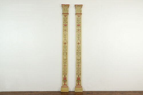 Pair of Classical Architectural Salvage Pilasters or Columns Hand Painted #37040