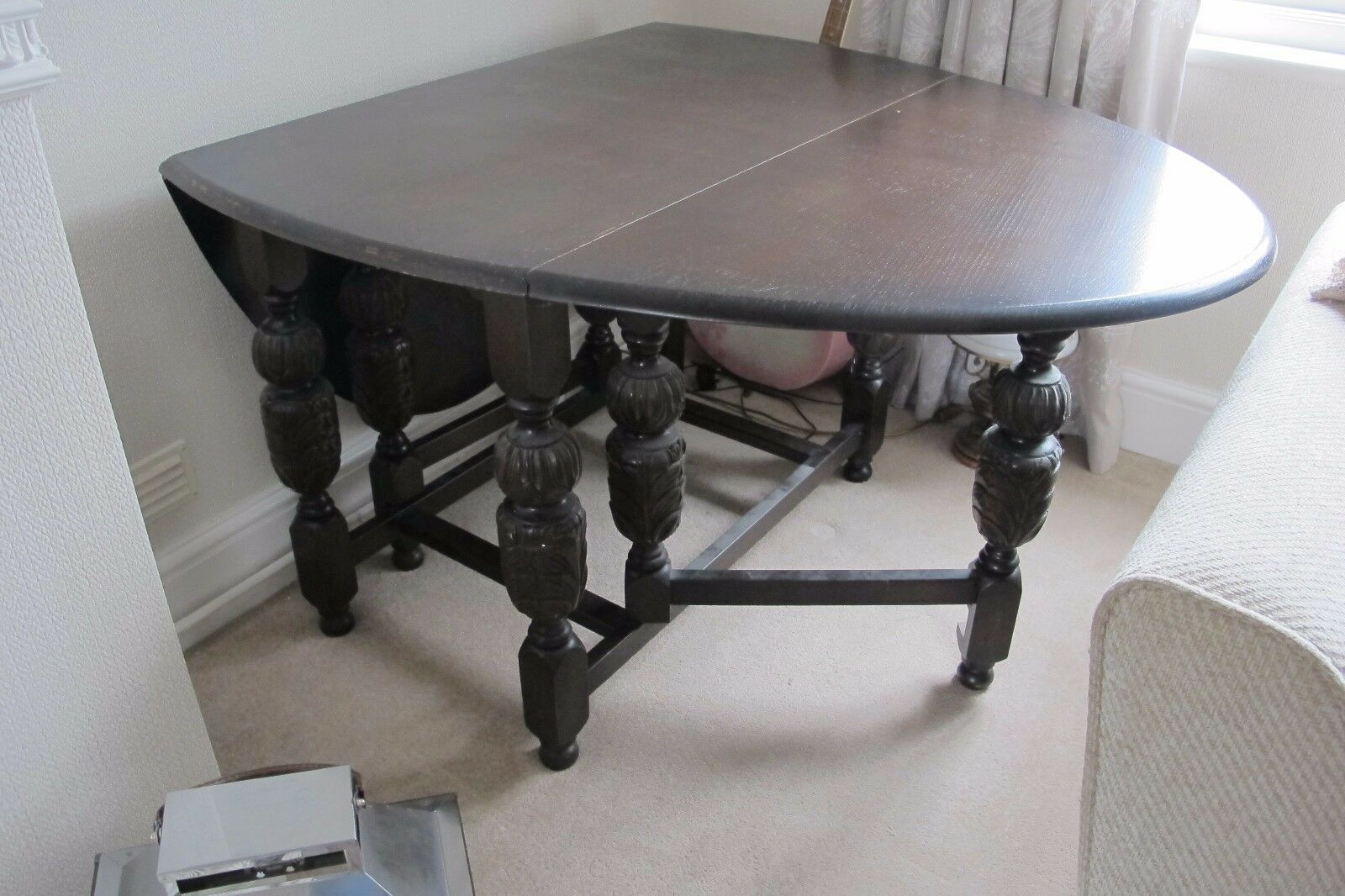 Image Dark oak dining table and 4 chairs