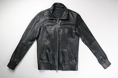 Original Fake Kaws Mediacom Black Lamb Leather Dual Zip Jacket Size 2 Small