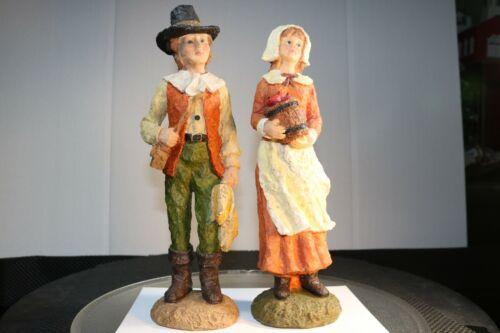 Vintage Ceramic Thanksgiving Pilgrim Couple Set Statue Figurine Autumn Colors