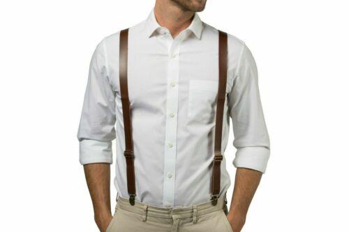 "Dark Brown Faux Leather Mens Clip-on 1.0"" Wide Suspenders  Y-shape Suspender"