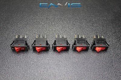 5 Pcs Rocker Switch On Off Mini Toggle Red Led 12v 16 Amp Ec-1220rd