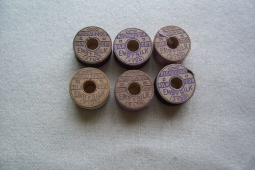 """6 Antique Wooden Spools  Silk Twist  Sewing Thread Richardson """"Collectible"""""""