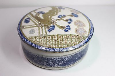 Signed Hand Thrown Crutchfield Studio Pottery Lidded Trinket Box Tree Blossoms