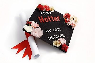 Handmade Graduation Cap Topper Cap Decorations Now Hotter by One Degree  - Graduation Caps Decorated