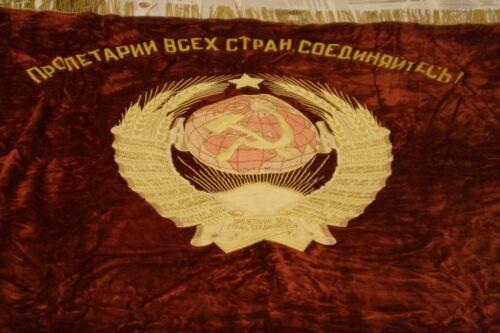 Soviet ORIGINAL FLAG BANNER LENIN velvet production of the USSR
