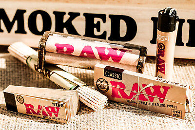 Bamboo Paper (RAW classic 1 1/4  Rolling Papers+ raw 79mm RAW ROLLER+raw tips+bamboo)