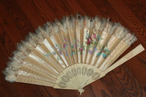 Old hand fan from an antique estate - see photos - flowers feathers