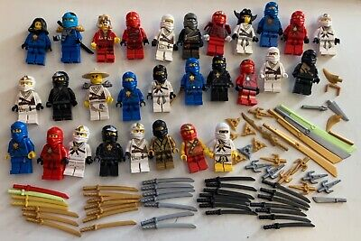 Lego Ninjago Ninja Minifigures & Katana Weapons Hoods - Large Mixed Bundle Lot