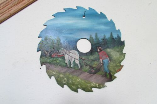 """8"""" Hand Painted Circular Painted Saw Blade Horse Drawn Country Plow Gorgeous!"""