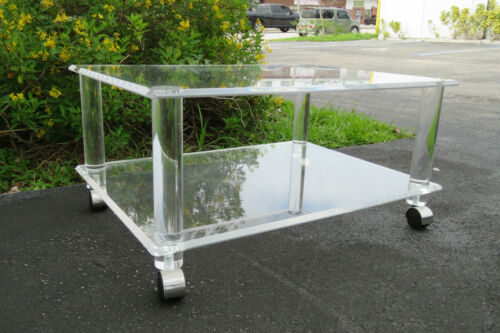 Hollywood Regency Mid Century Two Tiers Lucite Coffee Table 1273