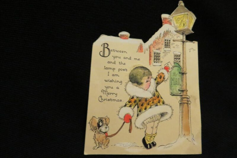 Vintage Art Deco Flapper Girl & Dog Christmas Card 1920s Unique