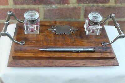 EDWARDIAN c 1910 TIGER OAK DESK TOP INK WELL STAN PROPELLING SILVER METAL PEN.