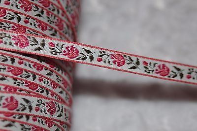 $1 yard white bubblegum pink olive green woven jacquard ribbon 3/8