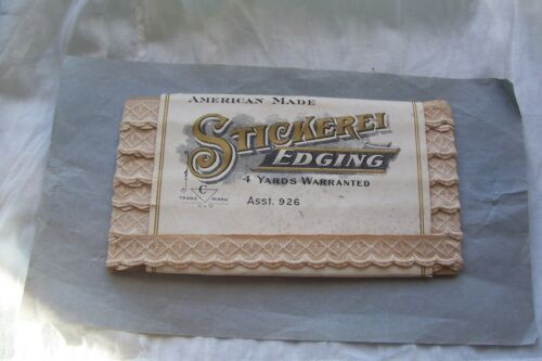 Vtg Card Cotton Embroidered Lace Trim Antique Sewing Project Stickerei Edging