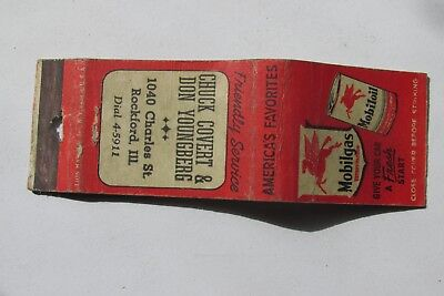 G306 Matchbook Cover Vintage Chuck Covert Don Youngberg Mobil Oil Gas Rockford