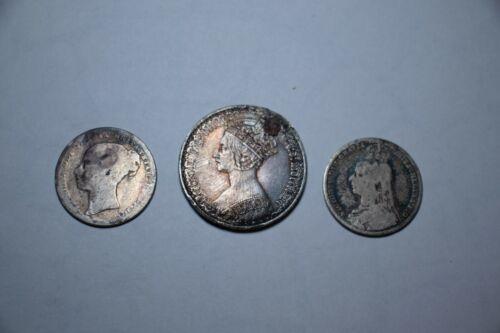 1877 6 Pence GB + 1890 1 Shilling GB + 1871 1 Florin GB