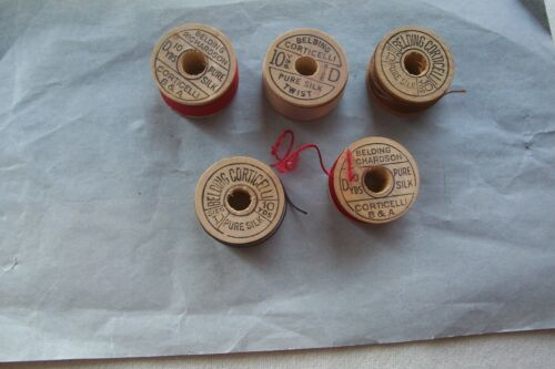 "5 Antique Wooden Spools  Silk Thread Belding Richardson Corctielli ""Collectible"""
