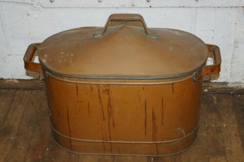 Antique Firewood Copper Covered Bucket Bin Fireplace Indoor Log Wood Holder