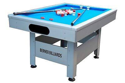 THE ORLANDO ~ OUTDOOR BUMPER POOL TABLE IN SILVER w/BLUE CLO