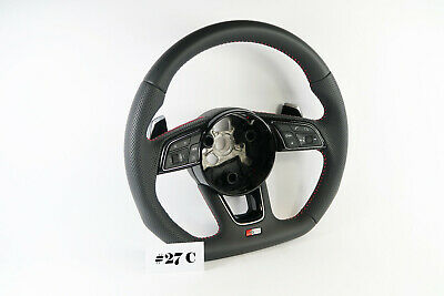 AUDI S-LINE A4 S4 A5 S5 Q5 SQ5 FLAT BOTTOM HALF PERFORATED STEERING WHEEL #27C