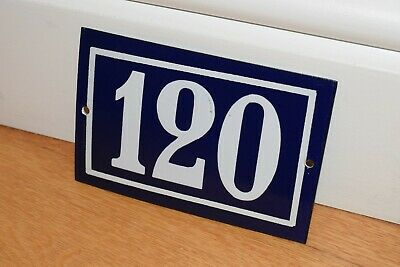 Vintage French Enamel Metal House Sign Number 120 - See Photos