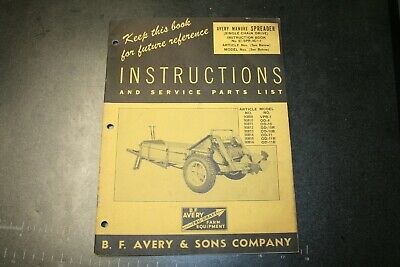 Avery Manure Spreader Instructions Manual Form No. R-194 2000-12-49-jss Co