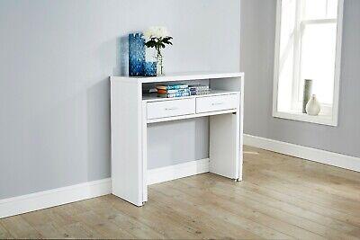 REGIS EXTENDING CONSOLE TABLE COMPUTER DESK STUDY TABLE RETRACTABLE SHELF WHITE