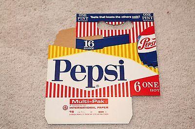 Vintage Original Pepsi 16 Oz 6 Pack Holder Cardboard Carton NOS