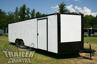 New 8.5 X 24 V Nose Enclosed Cargo Blacked Out Car Trailer Blackout Toy Hauler
