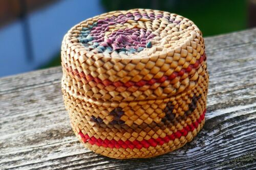 Native Nootka Woven Vivid Polychrome Treasure Basket - Geometric Canoe Design