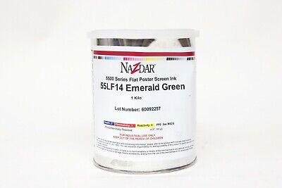 Nazdar 5500 Series Flat Poster Screen Ink 1 Kilo 55lf14 Emerald Green - Dented
