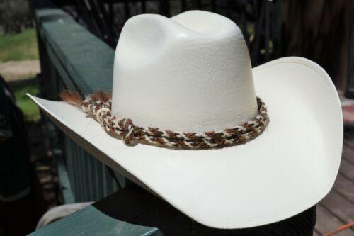 Jose Ortiz Double (2) Strand Twisted Horsehair Hatband Rawhide-White/Chestnut/BW