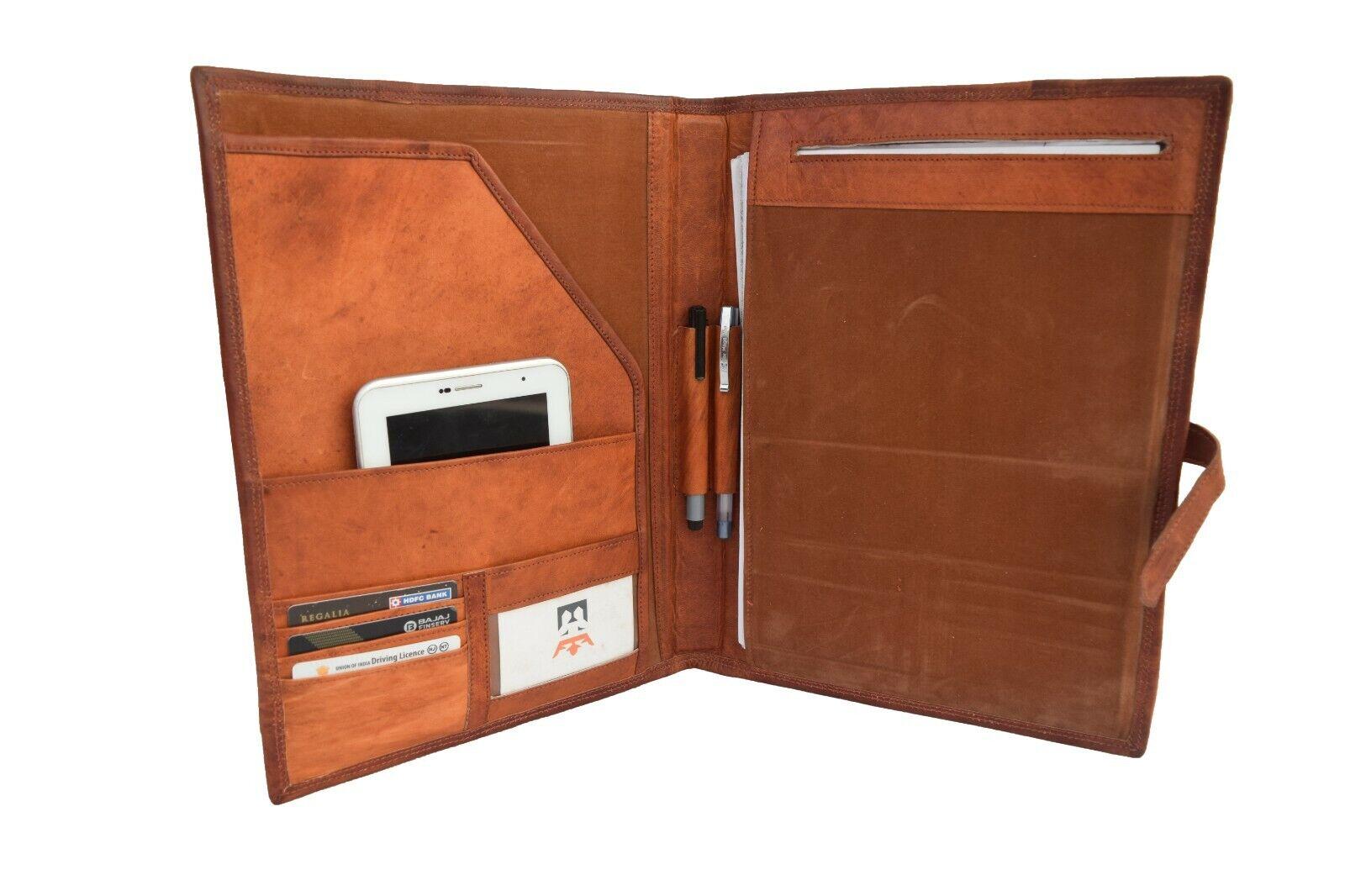 Vintage Leather Portfolio Organizer Padfolio Folder Executiv
