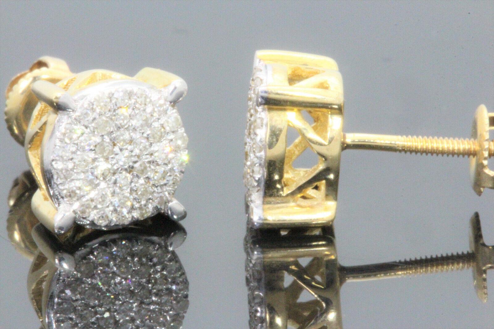 10K YELLOW GOLD .30 CARAT MENS WOMENS 7 mm 100% GENUINE DIAMONDS EARRING STUDS